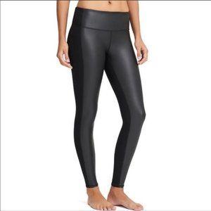 Athleta black faux leather front leggings XXS